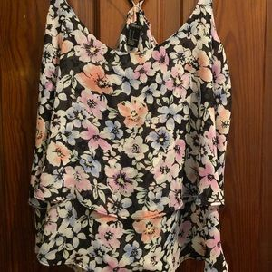 Black floral ruffled top - size small